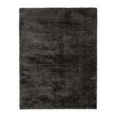 Velvet Plain Charcoal Rectangle Plain Rug, 120x170 cm