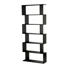 Modern Stylish Bookcase, Particle Board, 6-Compartment, S-Shaped Design, Black