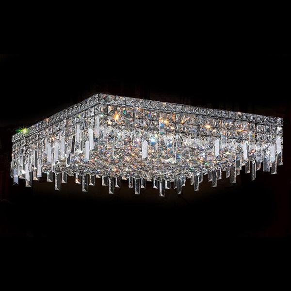 Modern L24-inch x W24-inch x H7.5-inch 13-light Chrome Finish Clear Crystal