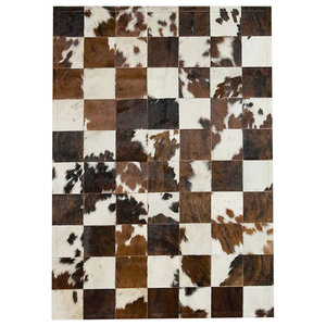 Patchwork Leather Cubed Cowhide Rug, Normandy Cow 3-Colour, 140x200 cm