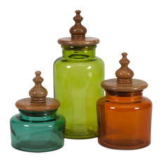 Imax Saburo Glass And Wood Lid Canisters Set Of 3 Bathroom Canisters