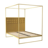 Federico Double Canopy Bed, Mustard Velvet, Brass Base