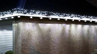 Ice White Cluster Lights on Garage Guttering