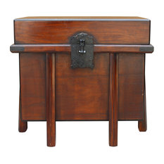 Asian Brown Stain Korean Japanese Style Trunk Storage Chest Table Hcs5313