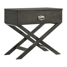 Glory Furniture - Xavier X Nightstand, Smoked Gray - Nightstands and Bedside Tables
