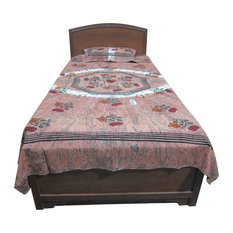 "Mogul Interior - Indian Print Bedding Single Bed Cover 100% Cotton ""Paradise"" Twin Size - Sheet And Pillowcase Sets"