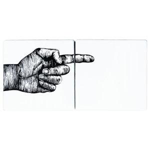 Hand Ceramic Tile Mural, 2 Tiles, Pointing Right