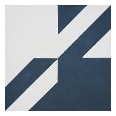 """8""""x8"""" Tantan Handmade Cement Tile, Navy Blue/White, Set of 12"""