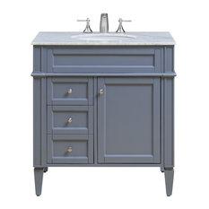Elegant Furniture Lighting Park Avenue 32 Single Bathroom Vanity Set Gray