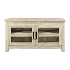 "44"" Corner Wood TV Console, White Oak"