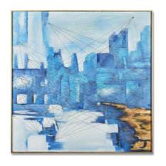 MOTINI Abstract Canvas Wall Art Blue City Textured Framed