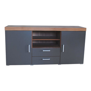 Modern Sideboard, Graphite Finished MDF and Walnut Top With 2-Door and Drawers