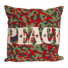 """Peace Red Pillow - 20"""" SQ"""
