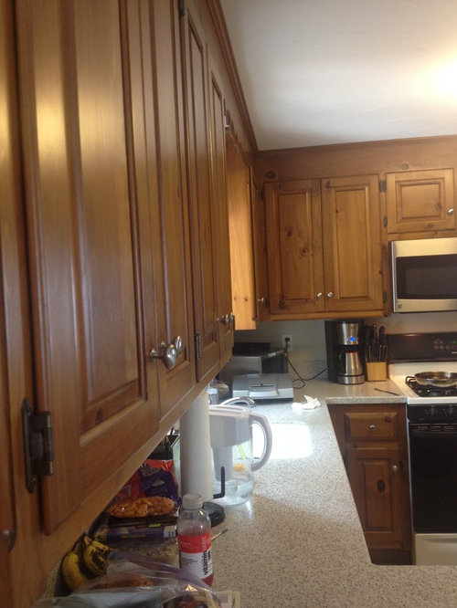 Knotty Pine Kitchen Custom Cabinets Can I Stain Paint Or