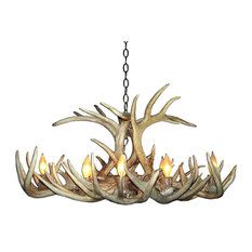 Whitetail Deer Oblong Antler Chandelier Light, Large, Parchment Shades
