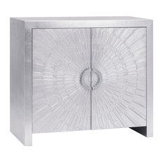 Pasargad Home - Pasargad's Firenze Modern 2 Doors Nickel Plated Distressed Cabinet - Accent Chests and Cabinets
