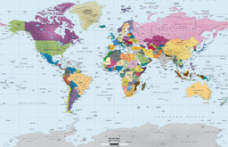 """World Map Wall Decal, Colorful, 89""""x60"""""""