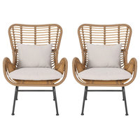 Gloria Indoor Wicker Club Chairs With Cushions, Set of 2, Light Brown, Black, Be
