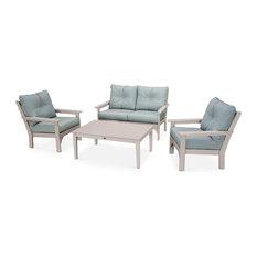 POLYWOOD Vineyard 4-Piece Deep Seating Set, Sand/Spa