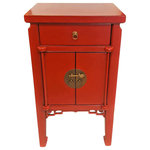 Oriental Furnishings - Oriental End Table Antique Red Lacquer with with brass hardware and doors - Distinguished solid elm wood Oriental end table. Featuring Tamu edge, this exotic piece is completely hand crafted and finished in antique red matte lacquer. Alluring key carving design and luxurious brass fittings make this table irresistible. The highest quality Asian artisanship is evident in the smooth as silk operation of the two doors and one drawer. Grace your living room with this striking selection. Why not get a pair? Choose another piece to complete your design statement. Get yours right away. Finely hand made imports like this one sell quickly.
