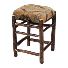 Fireside Lodge Furniture Hickory Square Backless Counter Stool With Upholstered Seat