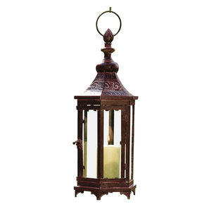 Large Bronze Metal Moroccan Hanging Candle Lantern, Clear Glass