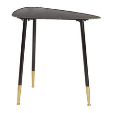 Small Black And Gold Mid-Century Hammered Edge Side Table 12-inchx24-inch