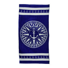 Blue and White Compass Rose Cotton Velour Beach Towel 60 X 30 in.