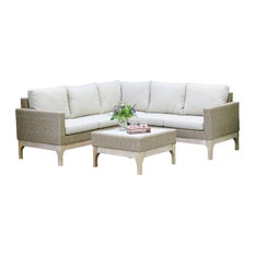 4-Piece Eucalyptus Wash and Wheat Wicker Sectional