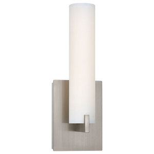 "Tube 13"" LED Wall Sconce, Brushed Nickel, Etched Opal Glass"