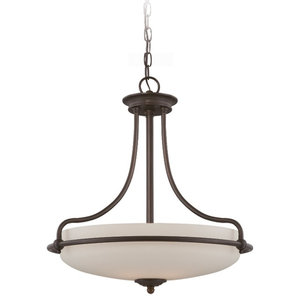 4-Light Pendant With Opal Etched Glass, Palladian Bronze