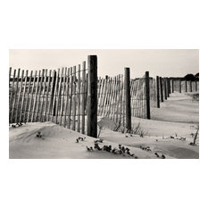 Wooden Beach Fence Tybee Island Georgia Fine Art Black and White Photography, 12