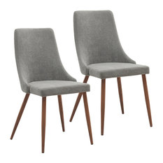 MOD   Rigby Mid Century Modern Upholstered Dining Chairs, Gray, Set Of 2