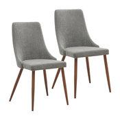Mid Century Fabric Side Chair (Set of 2)- Beige, Grey/Walnut