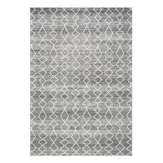 "Geometric Moroccan Trellis Rug, Gray, 5'3""x7'7"""