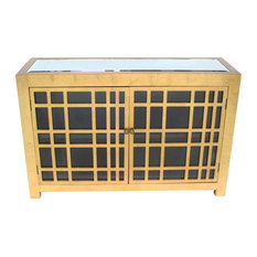 Benzara Wooden Two Door Cabinet With Shelves And Mirror On Top Gold