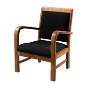 Dak Upholstered Teak Armchair, Black