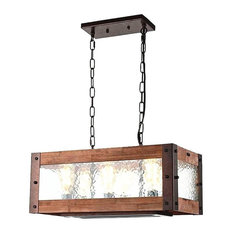 LightingWorld   Rustic Kitchen Island Light, 6 Light Square Wood And Metal  Dining Room