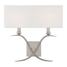 Payton 2-Light Sconce, Satin Nickel With White Linen Shade