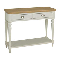 Hampstead Soft Grey and Pale Oak Console Table With Turned Legs