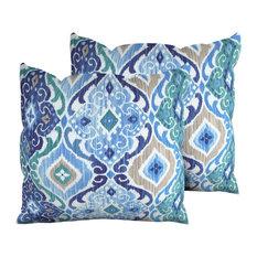 Cobalt Outdoor Throw Pillows Square Set of 2