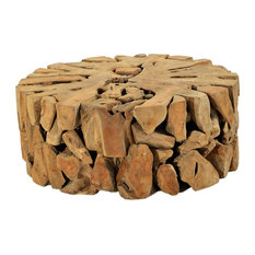 """39"""" Dia. Teak Root Coffee Table Solid Teak Root Natural Free Form One of a Kind"""