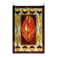 """21""""Wx31""""H Harvest Festival Stained Glass Window"""