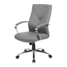 Boss Office Products Leatherplus Executive Chair Gray Chairs