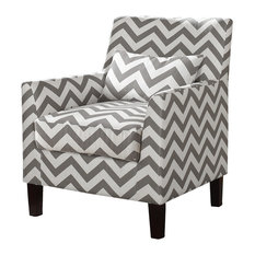 Cassidy Upholstered Living Room Gray and White Fabric Accent Arm Chair