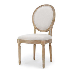 GDF Studio Phinnaeus French Country Fabric Dining Chairs (Set of 2), Griege/Natu