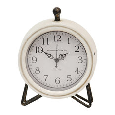 Stratton Home Contemporary Metal and Mdf Table Clock In White and Black S16072