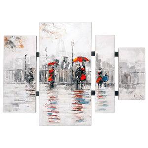 """""""Parisian Umbrellas"""" 4-Piece Oil Painting, 115x70 cm"""