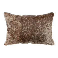 "Dark Brown Speckled Leather Hair on Hide Pillow, 12""x18"" With Fabric Back"