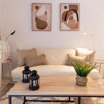Salón Nórdico con sofá cama